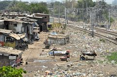 Ramshackle huts in Mumbai's slum Dharavi Stock Photos
