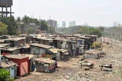 Ramshackle huts in Mumbai's slum Dharavi stock images