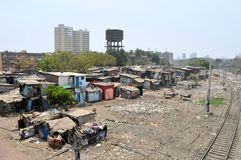 Ramshackle huts in Mumbai's slum Dharavi Stock Images