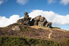 Ramshaw rocks in the Staffordshire moorlands on a sunny day Royalty Free Stock Photos