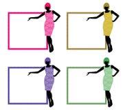 ramsilhouettekvinnor Arkivfoto