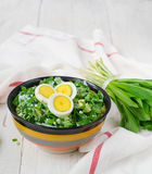 Ramson and boiled eggs. Set for spring salad Stock Photos