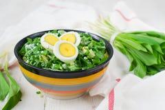 Ramson et oeufs à la coque Placez pour la salade de ressort Photographie stock libre de droits