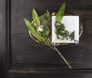 Ramson with vintage spoons on dark wooden table Royalty Free Stock Images