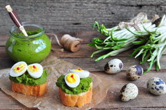 Ramson, wild garlic and sauce pesto sandwich on a wooden table Royalty Free Stock Photography
