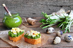 Ramson, wild garlic and sauce pesto sandwich on a wooden table Royalty Free Stock Photo