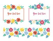 Ramy i deseniowi wiosna kwiaty ilustracja wektor