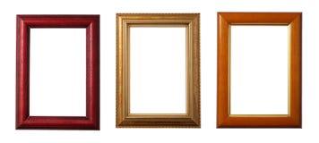 ramy trzy drewniane obrazy stock