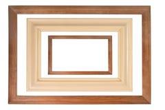 ramy ustawiają trzy drewnianego Obrazy Stock