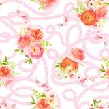 Ranúnculo, orquídea, ramos de las rosas e hilo torcido con los nudos Imagen de archivo