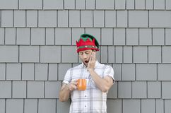 Ran out of coffee at Christmas time. Royalty Free Stock Image