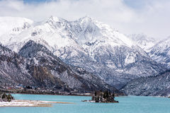 The Ran Wu lake. With the snow mountain background in Basu, Tibet stock images