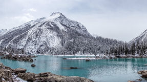 The Ran Wu lake. With the snow mountain background in Basu, Tibet royalty free stock photos