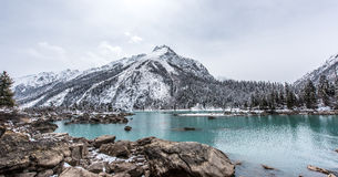 The Ran Wu lake. With the snow mountain background in Basu, Tibet stock photo