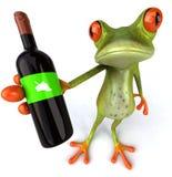 Rana con el vino Imagen de archivo libre de regalías