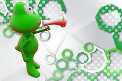 rana 3d con l'illustrazione dell'altoparlante Fotografia Stock