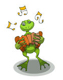 Rana de la historieta con el acordeón, ejemplo del vector Foto de archivo libre de regalías