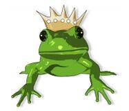 Rana de la historieta con la corona Foto de archivo libre de regalías