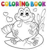 Rana de la tarjeta del día de San Valentín del libro de colorear Foto de archivo