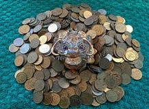 Rana dei soldi che si siede sulle monete fotografia stock