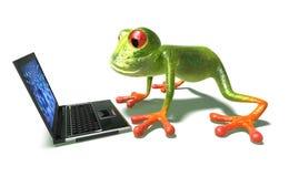 Rana delante de una computadora portátil stock de ilustración