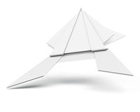 Rana di carta isolata su fondo bianco 3d rendono i cilindri di image Immagini Stock