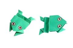 Rana di origami in due posizioni differenti Fotografia Stock Libera da Diritti