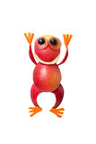 Rana divertente della mela con le mani su Immagine Stock