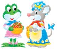 Rana e mouse Immagini Stock