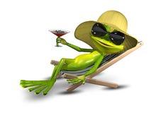 Rana en un sombrero en una silla de cubierta con un vidrio Foto de archivo libre de regalías