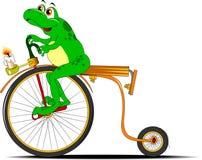 Rana en una bicicleta Imagen de archivo libre de regalías