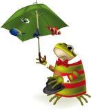 Rana il pagliaccio un parasole Fotografia Stock