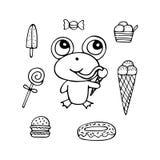 Rana monocromatica disegnata a mano divertente il dente dolce con il gelato illustrazione di stock