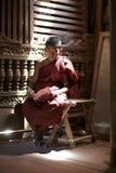 Rana pescatrice vecchio Bagan Myanmar del debuttante immagini stock