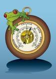 rana que se sienta en el barómetro ilustración del vector