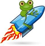 Rana su un Rocket Fotografia Stock