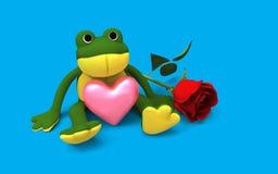 Rana sveglia che si siede con il cuore rosa Immagini Stock