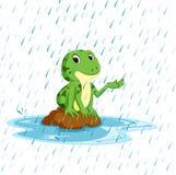 Rana verde con sonrisa feliz stock de ilustración