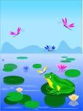 Rana verde del fumetto che si siede su una foglia del giglio illustrazione vettoriale