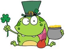 Rana verde del Leprechaun del día del St Patricks que desgasta A ha Imagenes de archivo