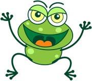 Rana verde en humor malévolo stock de ilustración
