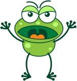 Rana verde en un humor muy enojado ilustración del vector