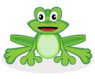 Rana verde molto piccola sembrante felice sveglia con i grandi occhi Immagini Stock