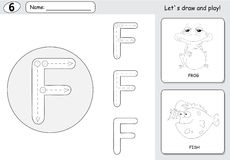 Rana y pescados de la historieta Hoja de trabajo de trazado del alfabeto: A-Z a de la escritura Imagen de archivo