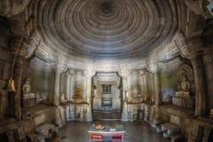 Ranakpur寺庙, fisheye内部视图 美妙地被雕刻的大厦,重要崇拜地方f 库存图片