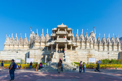 Ranakpur, India - February 2, 2017: Exterior of the majestic jainist temple at Ranakpur, Rajasthan, India. Architectural details o Royalty Free Stock Photography