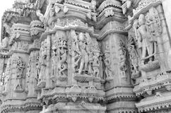 Ranakpur Jain Temple in Rajasthan, India. RANAKPUR, INDIA - NOVEMBER 20: 2016: Beautiful ancient sculptures at Ranakpur Jain Temple built with white marble at Royalty Free Stock Images