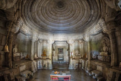 Ranakpur Temple, fisheye interior view. Beautifully carved building, important worship place f Stock Image