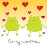 Ranas de la tarjeta del día de San Valentín Imágenes de archivo libres de regalías