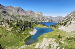 Ranas Lake iand Respomuso lake in Tena Valley in The Pyrenees, Huesca, Spain. View of Ranas Lake and Respomuso lake in Tena Valley in The Pyrenees, Huesca stock image